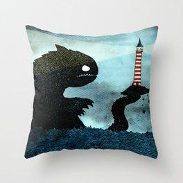 Lighthouse & Sea Monster Throw Pillow