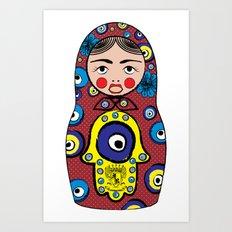 Hamsa/Evil Eye Matryoshka Art Print