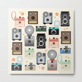 1960s Vintage Cameras Metal Print