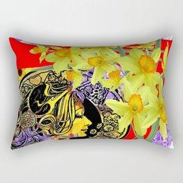 RED ART NOUVEAU MAGIC OF SPRING Rectangular Pillow