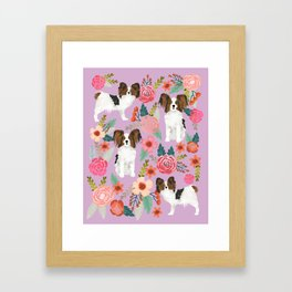 Papillon pet friendly small cute dog breed must have gift for dog lover florals dog pattern print Framed Art Print
