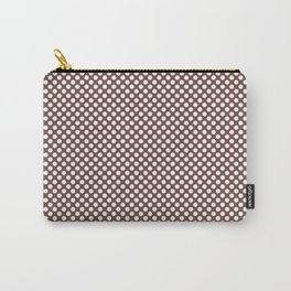 Root Beer and White Polka Dots Carry-All Pouch