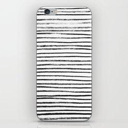 Black Brush Lines on White iPhone Skin