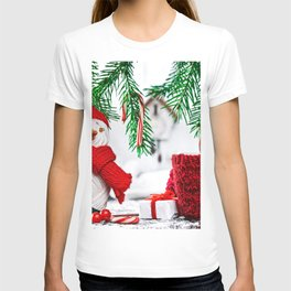 Pictures New year Scarf Winter hat present Snowman T-shirt
