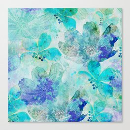 blue turquoise mixed media flower illustration Canvas Print