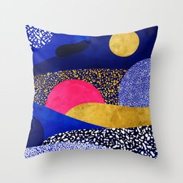 Terrazzo galaxy blue night yellow gold pink Throw Pillow