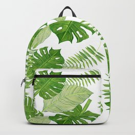 Tropical Leaves on White Background Backpack