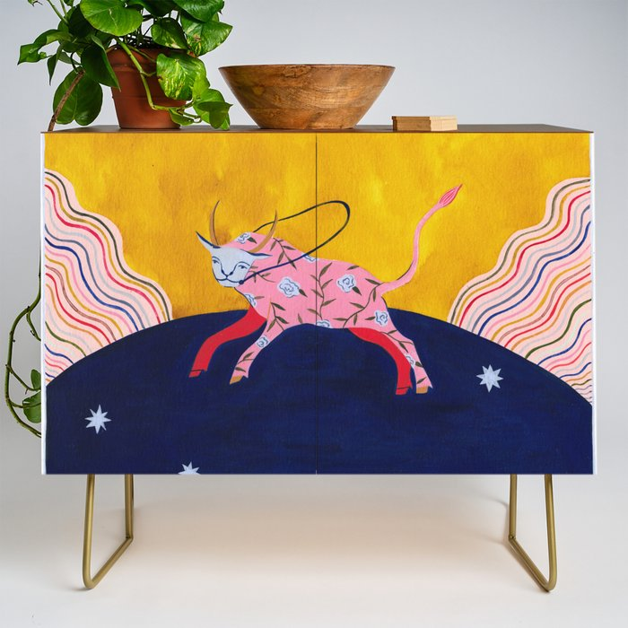 The_Homesick_Taurus_Looking_for_A_Home_Credenza_by_EstAce_Preda__Gold__Walnut