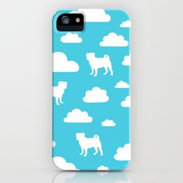 Pug Clouds (white and blue) iPhone Case