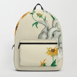 Floral Heart: Sunflower Human Anatomy Halloween Art Backpack