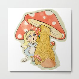 Alice and the Giant Mushrooms Metal Print