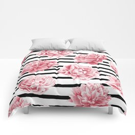 Simply Drawn Stripes and Roses Comforters