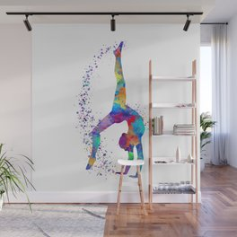 Colorful Gymnastics Tumbling Watercolor Art Wall Mural