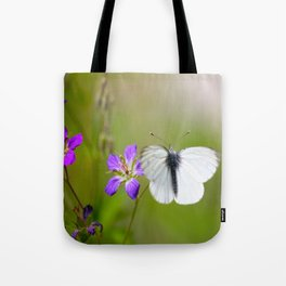 White Butterfly Natural Background Tote Bag
