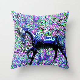 HORSE AND FLOWER PETALS OIL PAINTING Throw Pillow