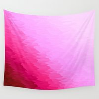 hot pink Wall Tapestries featuring Pink Ombre by Simply Chic