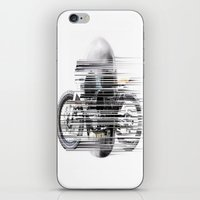 cafe racer iPhone & iPod Skins featuring SKULL AND CAFE RACER by Joedunnz