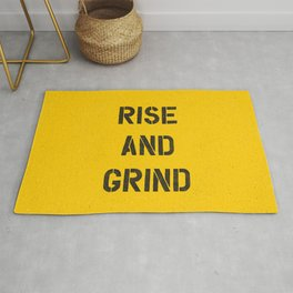 Rise and Grind black-white yellow typography poster bedroom wall home decor Rug