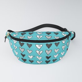 Baby Blue Heart Doodles Fanny Pack