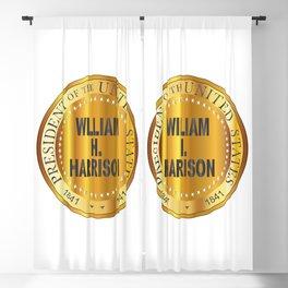 William H. Harrison Gold Metal Stamp Blackout Curtain