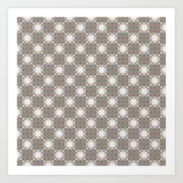 Brown and Blue Geometric - Light Starbursts Art Print
