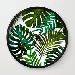 Tropical Dream, Jungle Nature Botanical Monstera Palm Leaves Illustration, Scandinavian Painting Wall Clock