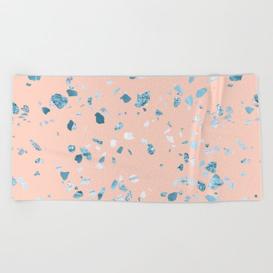 Turquoise Shimmery Terrazzo on Pink Beach Towel