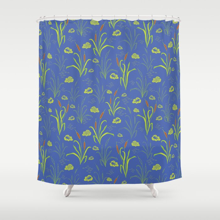 Bright Blue Pond Water With Bullrushes Shower Curtain By Limolida