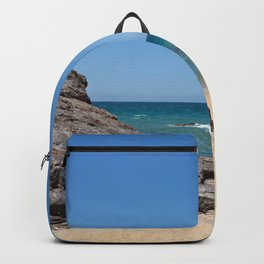 Tropical beach with rock Backpack