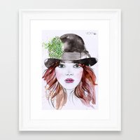 emma stone Framed Art Prints featuring Emma Stone by Vicky Ink.
