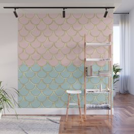 Retro Vintage Inspired 1940s Beachy Fish Scales Pattern in Pink Green and Gold Wall Mural
