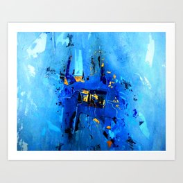 Blue, Black and White Art Print