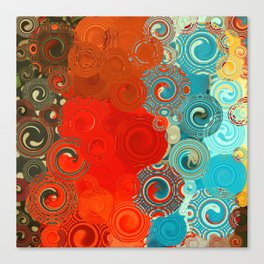 Turquoise and Red Swirls Canvas Print