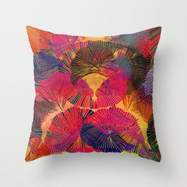 Rainbow background. Gingko biloba leaves. Hand painted Pattern. Throw Pillow