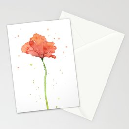 Poppy Flower Watercolor Stationery Cards