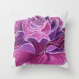 Knitted Flower Artwork Throw Pillow