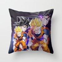 goku Throw Pillows featuring Goku & Gohan by Neo Crystal Tokyo