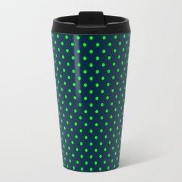 Mini Navy and Neon Lime Green Polka Dots Travel Mug