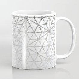 Modern silver stars geometric pattern Christmas white marble Coffee Mug