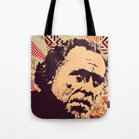 bukowski Tote Bags featuring Bukowski by f_e_l_i_x_x