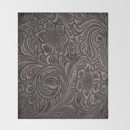Distressed Smoky Tooled Leather Throw Blanket