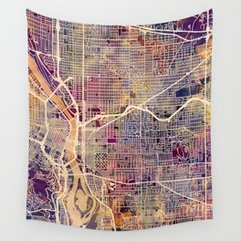 Portland Oregon City Map Wall Tapestry