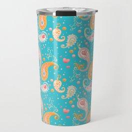Paisley Hearts Turquoise Travel Mug