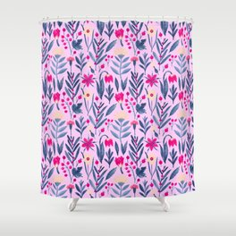 Botanical fuchsia pink blue ivory watercolor floral Shower Curtain