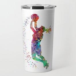 Basketball Girl Player Sports Art Print Travel Mug