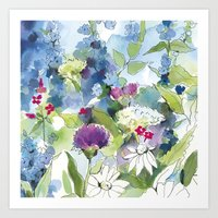 Blue Wild Flowers with Thistles and Daisies Art Print