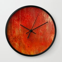 Fall Fire - Encaustic Painting (red, yellow, gold) Wall Clock