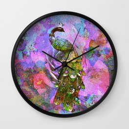 Peacock Watercolor Wall Clock