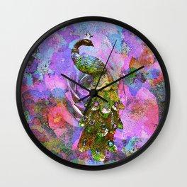 Peacock Watercolor Wall Clock