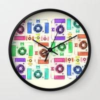 camera Wall Clocks featuring CAMERA by Laura Maria Designs